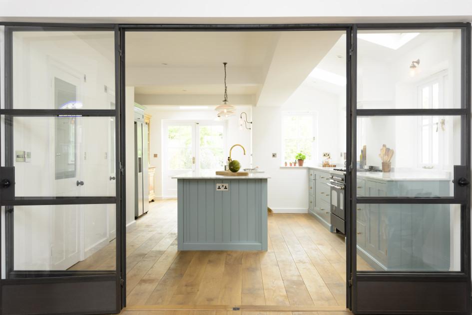 Blue Kitchen and egineered oak floor