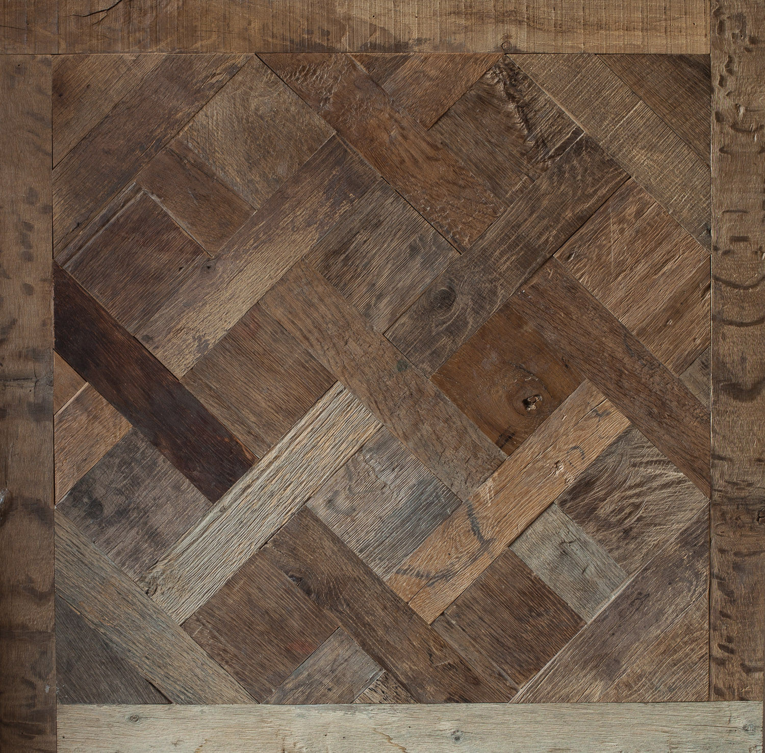 Reclaimed engineered heritage oak versailles panel the for Recycled wood floors